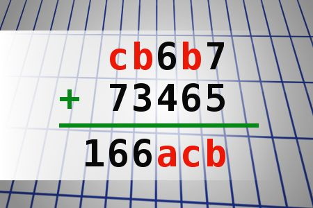 If cb6b7 + 73465 = 166acb find number abc. Multiple solutions may exist.