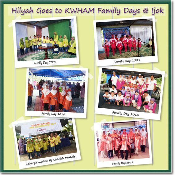 Hilyah shares 5 years of silaturrahim with Keluarga Warisan Haji Abdullah Mukhri (KWHAM)'s annual Family Days on 1 Muharram 2008-2012. MasyaAllah, we are very touched by our reseller Azmila's support to have Hilyah Muslimah Tshirts as the attire for the ladies & girls of her extended family for 5 years of gatherings.    View other Hilyah Goes Places! Photos & stories http://www.hilyah.com/index.php?option=com_content=article=14=19 .