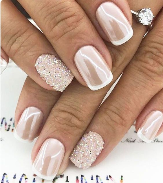 Pretty pink and white nail art