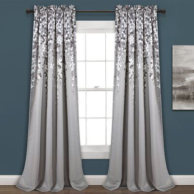 Cumberland Floral Room Darkening Thermal Rod Pocket Curtain Panels Curtain Color Gray Size Per Panel 52 Curtains Living Room Panel Curtains Window Curtains