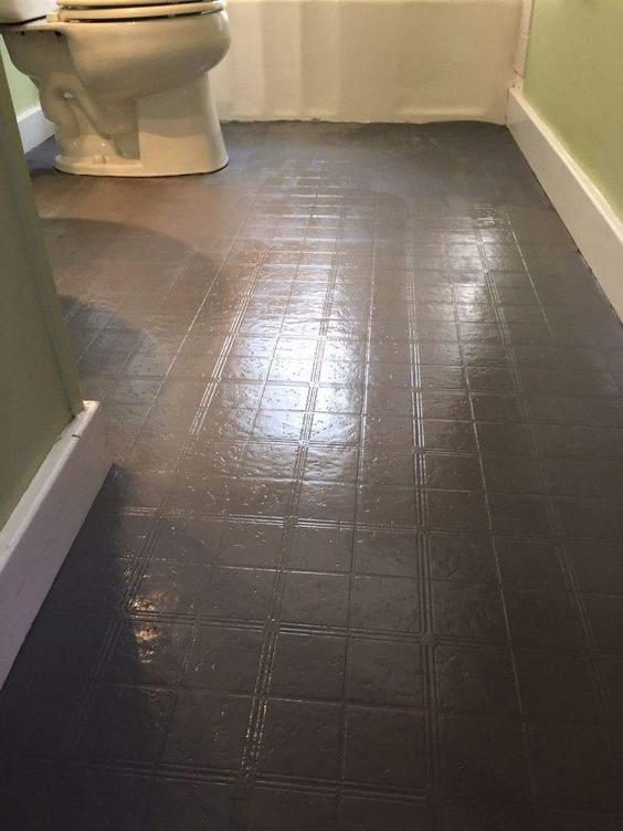 Bathroom floor tiles tile and floors on pinterest for Painting vinyl floor tile