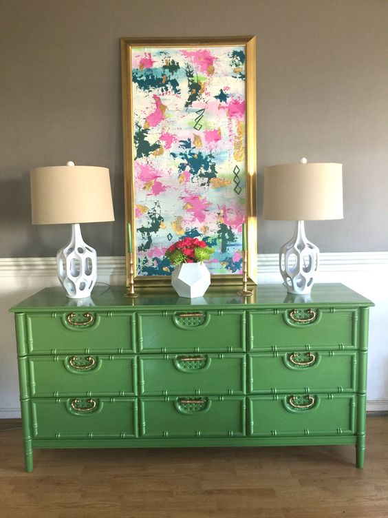 Faux bamboo Basset dresser redone in green: