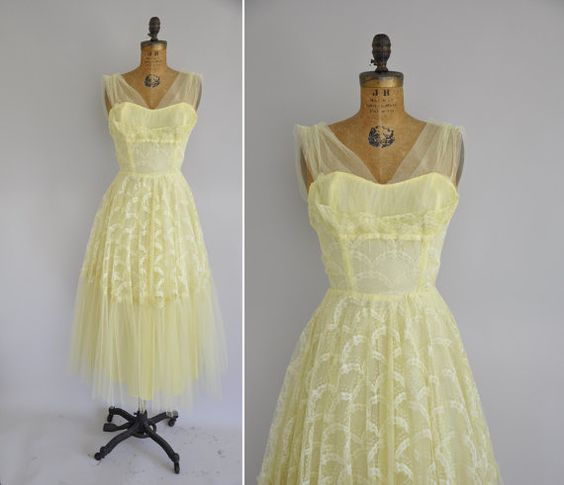 Vintage 1950s dress / 50s yellow tulle prom dress / 1950s ...