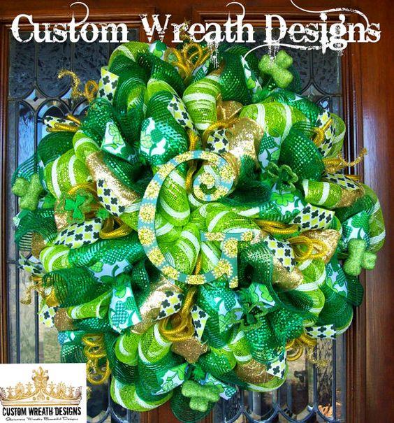 Whimsical Monogram St. Patricks Wreath by lilmaddydesigns on Etsy
