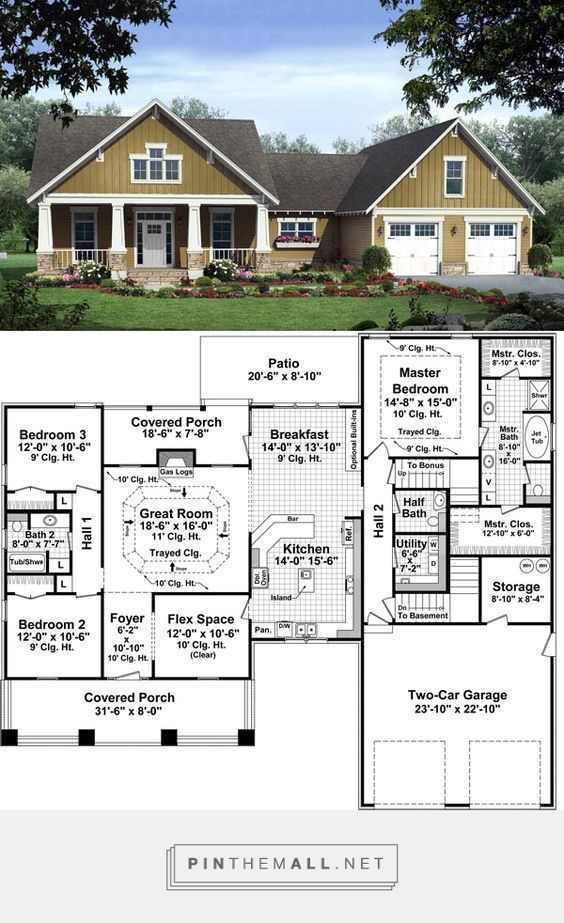 Craftsman Style House Plan 59178 With 3 Bed 3 Bath 2 Car Garage Craftsman Style House Plans New House Plans Ranch House Plans