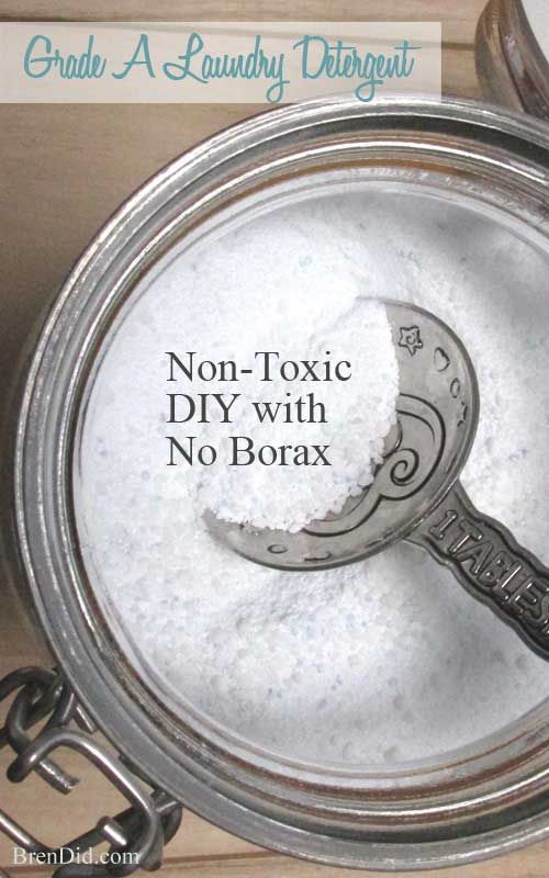 "BORAX FREE! All natural, non-toxic laundry detergent with no borax. Recipe makes 11.43 lbs (183 oz.) for $20.75 or 320 loads at $0.06 per load! It rates an ""A"" on the Environmental Working Group (EWG) scale, so you can feel good about using it in your home."