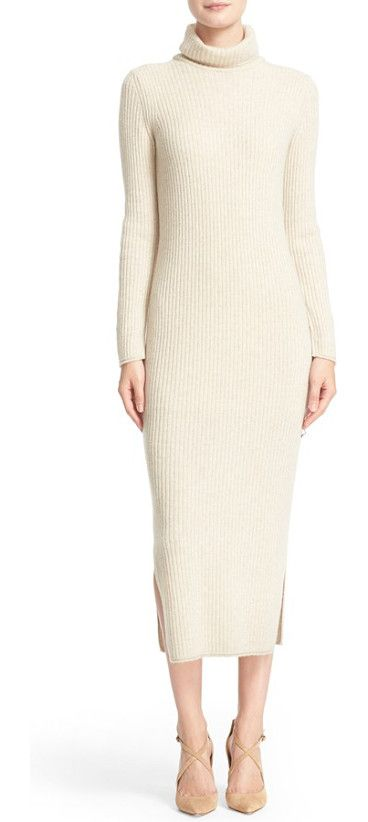 gwen wool & cashmere ribbed turtleneck dress by Alice + Olivia. Vertical ribbing enhances the long, lean lines and adds curve-hugging stretch to a lithe turtleneck dress spun from a...