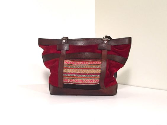 Bohemian Red Suede & Leather Purse by 3rdCultureVintage on Etsy