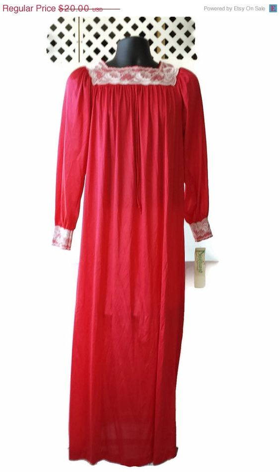 ON SALE Long Red Nightgown Pinehurst Lingerie Lacy NOS