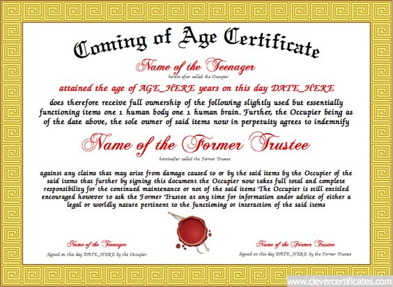 Coming of Age - Create a unique Coming of Age certificate for your - certificate of ownership template