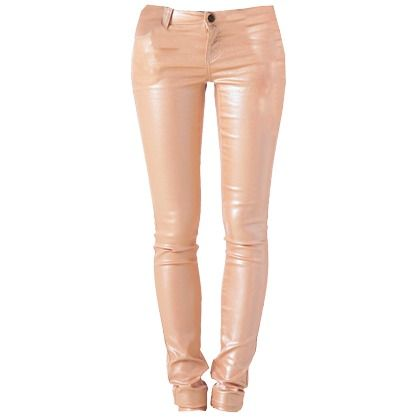 Jeans in Glanzoptik ♥ Hier kaufen: http://stylefru.it/s479142 #optik #leder #apricot