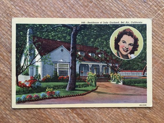50's Judy Garland Postcard  Residence of Judy by ElkHugsVintage