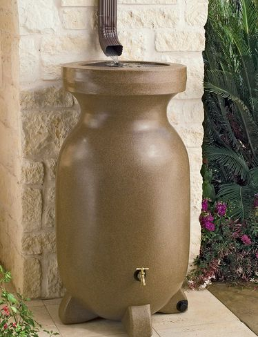 Rain barrels for water conservation.  We like the terra cotta look, the stabilizing feet and the durable brass spigot.: