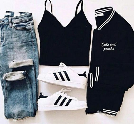 Jeans: crop-top, baseball jacket, blue jeans, black crop top, adidas superstars, outfit, outfit idea, back to school, straight jeans, adidas shoes, adidas, black jacket - Wheretoget