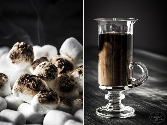 Java Rum Chata Shooters with Toasted Marshmallows | www.littlerustedladle.com #shots #rumshata #foodphotography