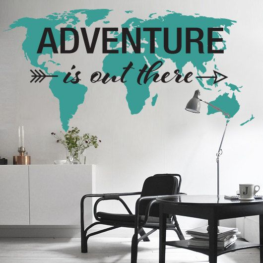 Large world map wall decal sticker 7ft x 347ft vinyl wall stickers large world map wall decal sticker 7ft x 347ft vinyl wall stickers decals with pins on etsy 6693 interior pinterest vinyl wall stickers gumiabroncs Choice Image