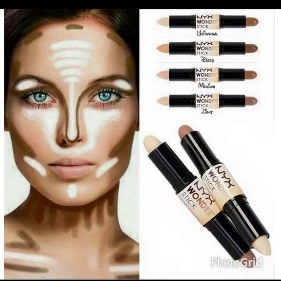 Resultado de imagen de Maquillaje profesional de NYX - Wonder Stick - Iluminador y contorno
