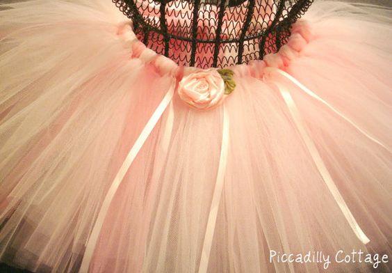 Pink tutu with ribbon rosette Swarovski by PiccadillyCottage