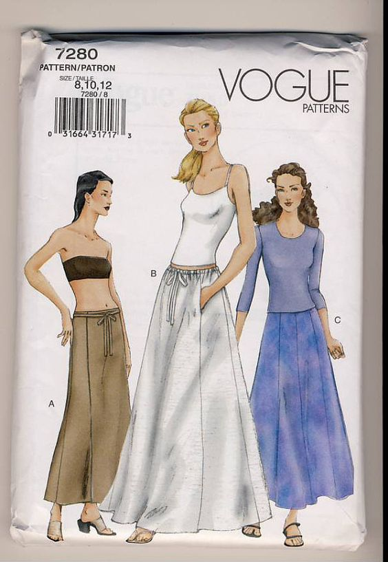 Vogue 7280 Misses ALine or Flared Wrap Skirt by Noahslady4Patterns, $5.75