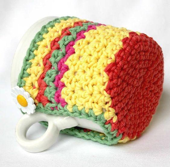 Mug Cozy Cup Cosy and Coaster Crochet Brights by CageFreeFibers