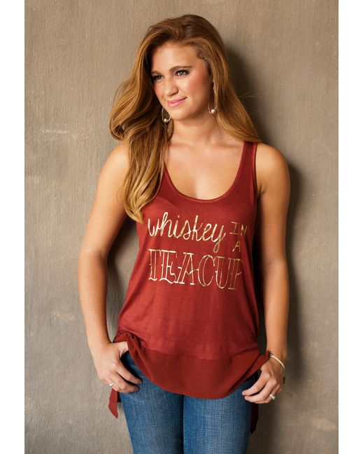 Women's Whiskey In A Teacup Chiffon Bottom Tank - Rust