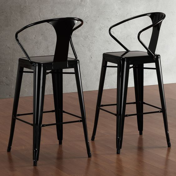 Tabouret Black with Back 30-inch Bar Stools (Set of 2)