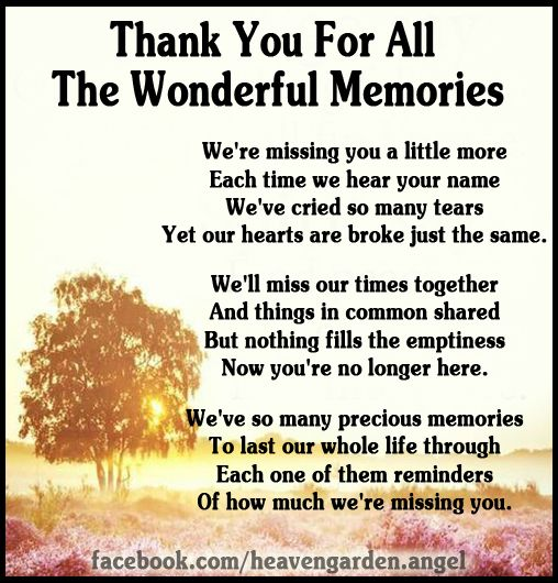 Memorial Poems Thank You For All The Wonderful Memories Heavens Garden Memorial Poems Memories Quotes Memories