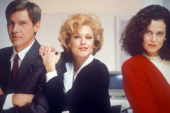 "With Harrison Ford and Melanie Griffith in ""Working Girl."""