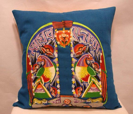 creations by jatra story rickshaw hood painted on a pillow cover