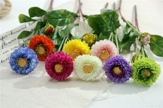 Rh New Künstliche Chrysantheme Blumen 39cm Gefälschte Silk 8 Farben Für Nach Hause Wedding Partei Dekorative / Tropfen Verschiffen