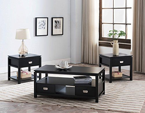 Kings Brand Furniture 3 Piece Black Finish Wood Storage Occasional