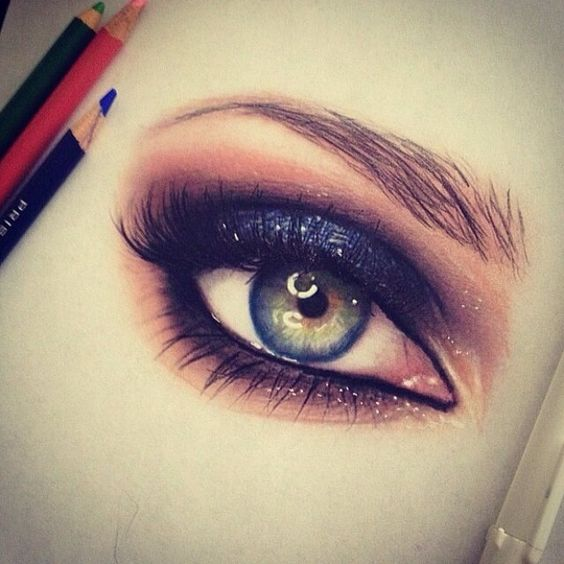Eye makeup colored pencil drawing, sketch