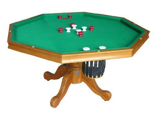 3 In 1 Game Table Octagon 54 Bumper Pool Poker Dining In Oak By Berner Billiards Bumper Pool Bumper Pool Table Table Games