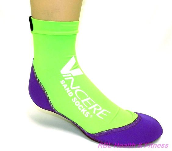 Vincere SAND SOCKS - Beach Volleyball Soccer - Neon Green/Purple S ...
