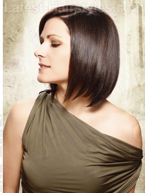encourage movement smooth deep brunette medium length bob hairstyle ...