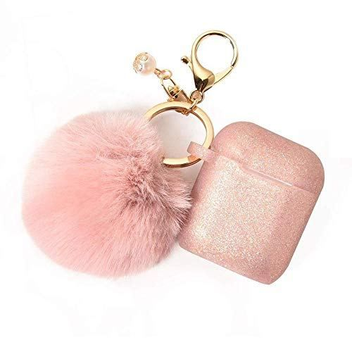 Pink Airpods Case With Cute Fur Ball Keychain Protective Case Cover Silicone Skin For Apple Airpods 2 1 With Pom Pom Lovely Novelty Earbuds Case Iphone Accessories Apple Accessories