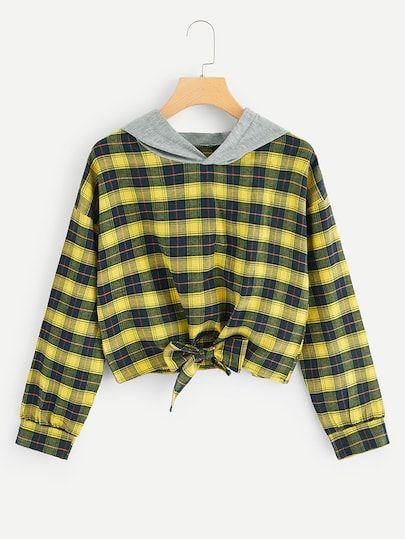 SweatyRocks Womens Knot Front Letter Print Long Sleeve Pullover Sweatshirts