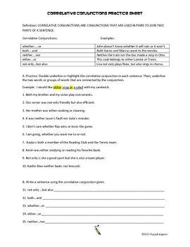 Correlative Conjunctions Practice Worksheet | Worksheets