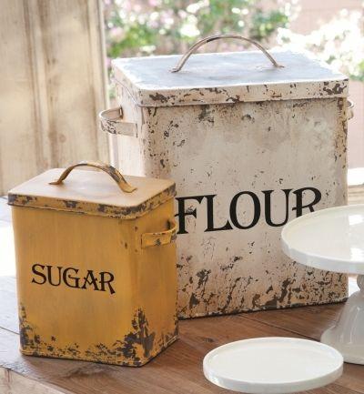 Set 2 Vintage Style Metal Flour Sugar Canister Farmhouse