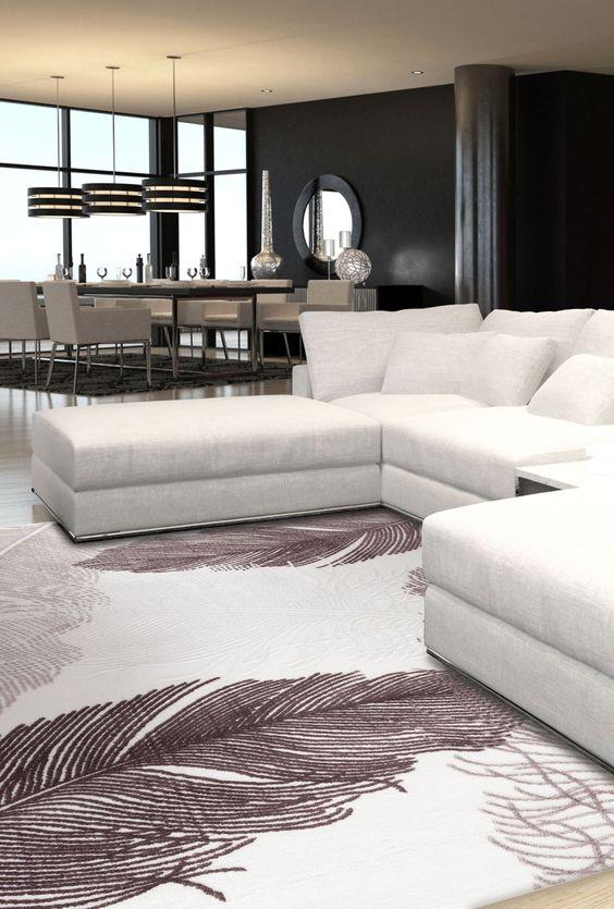 Atlas 6007 Silver Teppich Carpet schwarz braun black grey - wohnzimmer bilder braun beige