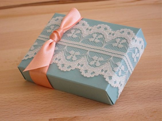 A set of 100 wedding favor box with lace trim by IntimateInvites, $100.00