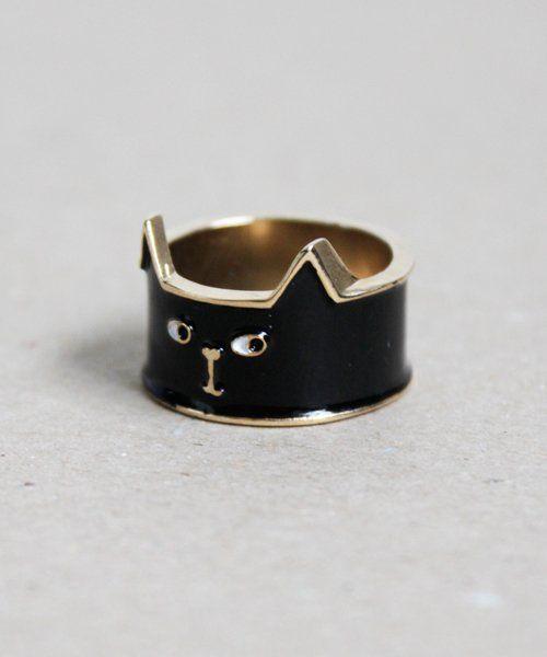 Fancy - Black Cat Ring