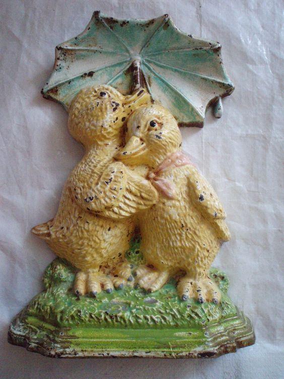 Antique Cast Iron Door Stop Ducklings Umbrella