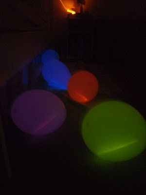 Moon balloons---glowsticks in balloons.  Play games, use hula-hoop & throw them thru.  Spell out words w/ leftover glow sticks