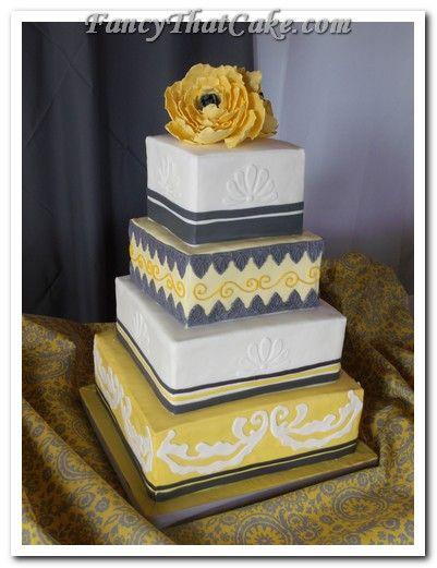 wedding cake-yellow and gray