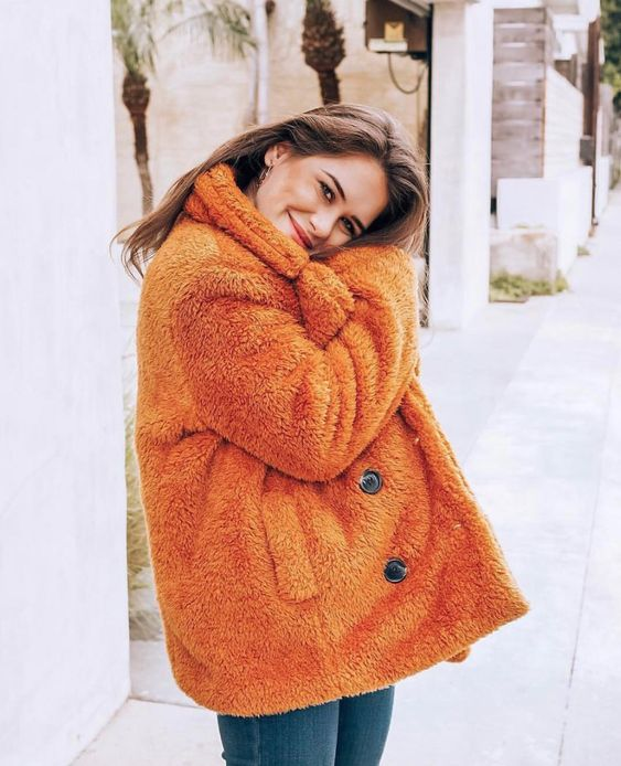 @lomolife in our By The Fireside Jacket. The coziest comfiest teddy bear coat in a burnt orange color! Perfect for winter! #winterclothes