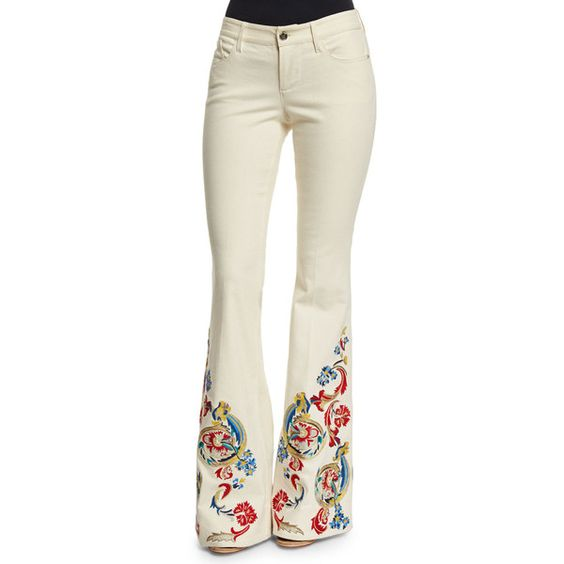 Alice  Olivia Ryley LowRise Embroidered Flare Jeans