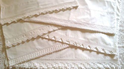 Shabby Cottage Chic Set of 6 Vintage Hand Crochet White Lace Pillowcases | eBay