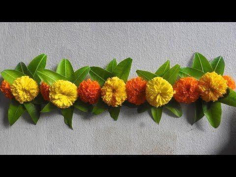 Diwali Toran 2nd Model With Marigold Flowers Mango Leaves Diwali Decoration Ideas Youtube Flower Decorations Diy Flower Decorations Diwali Decorations