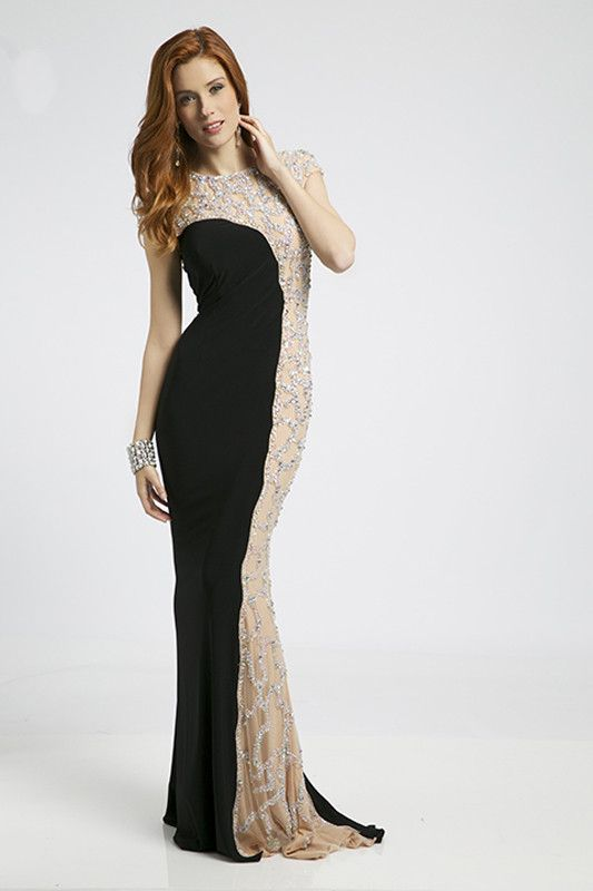 Jovani 98867 In Stock Black SZ 6 Jeweled Slimming Illusion Prom ...